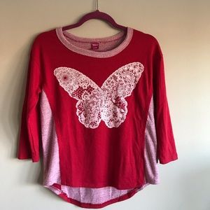 Other - Red Long Sleeve Top with Print 🦋 Butterfly L (14)